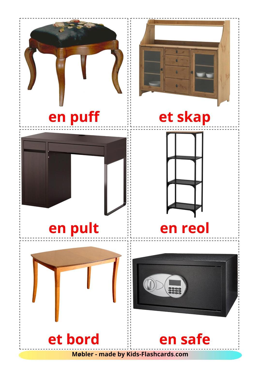 Furniture - 31 Free Printable norwegian Flashcards