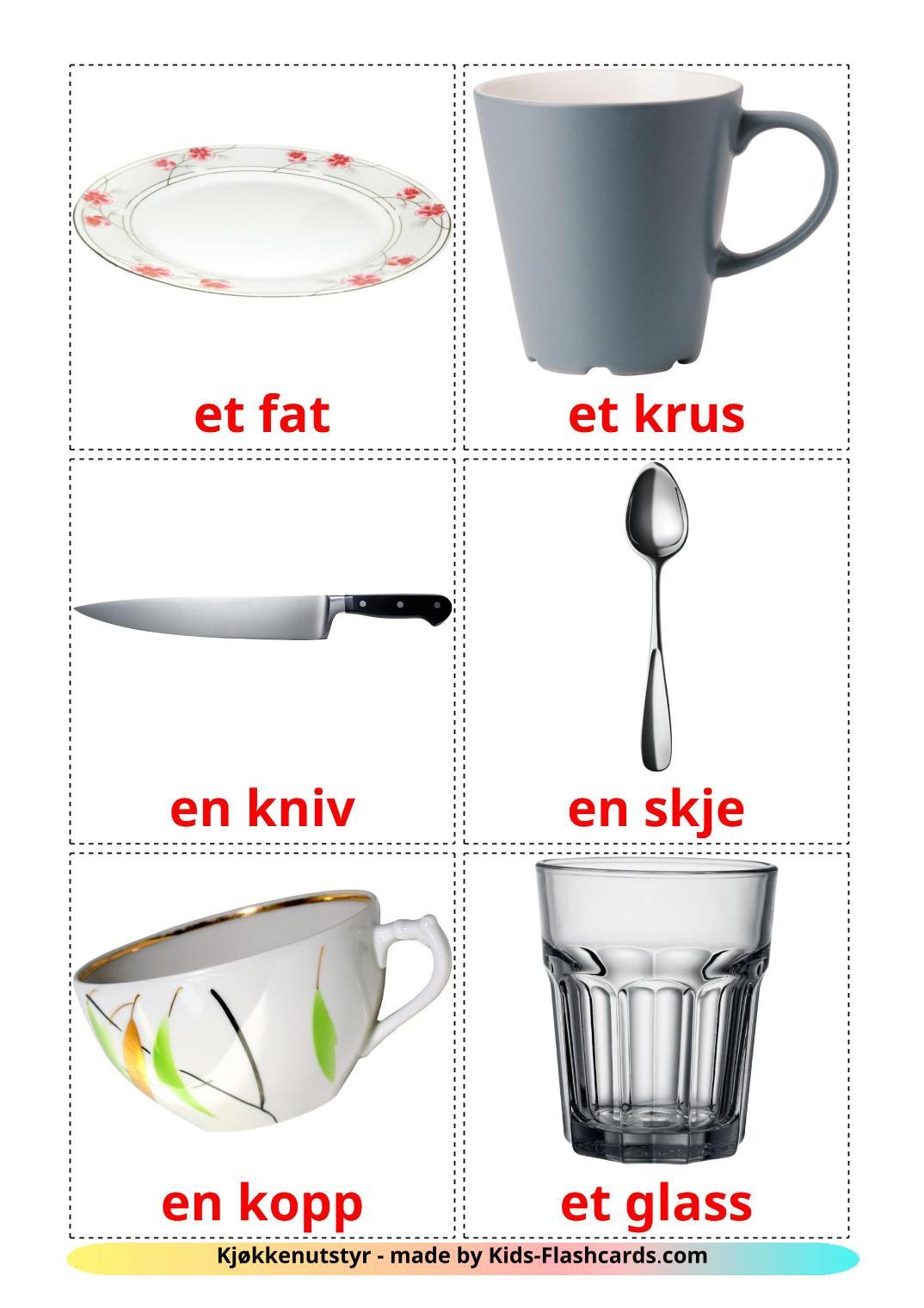 Crockery and cutlery - 29 Free Printable norwegian Flashcards