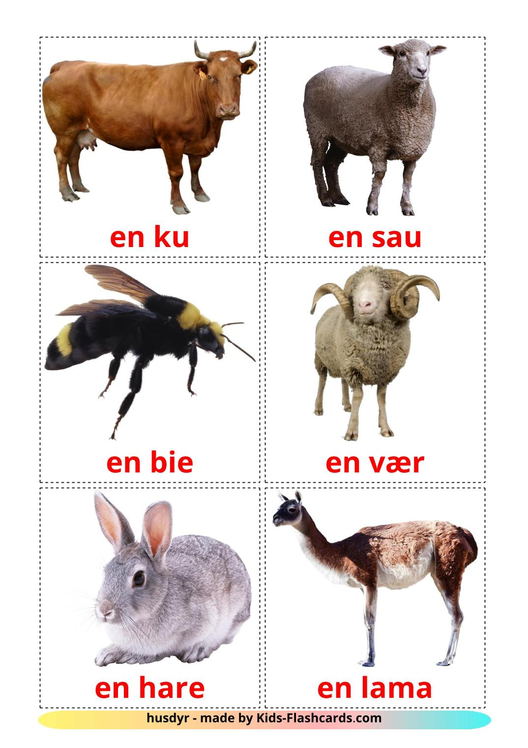 Farm animals - 15 Free Printable norwegian Flashcards