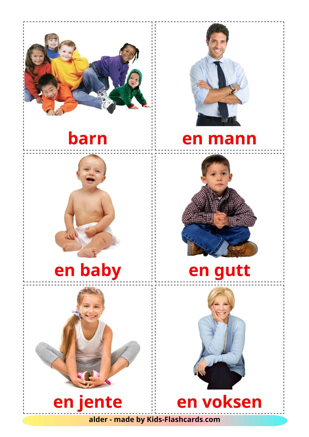 Stages - 12 Free Printable norwegian Flashcards