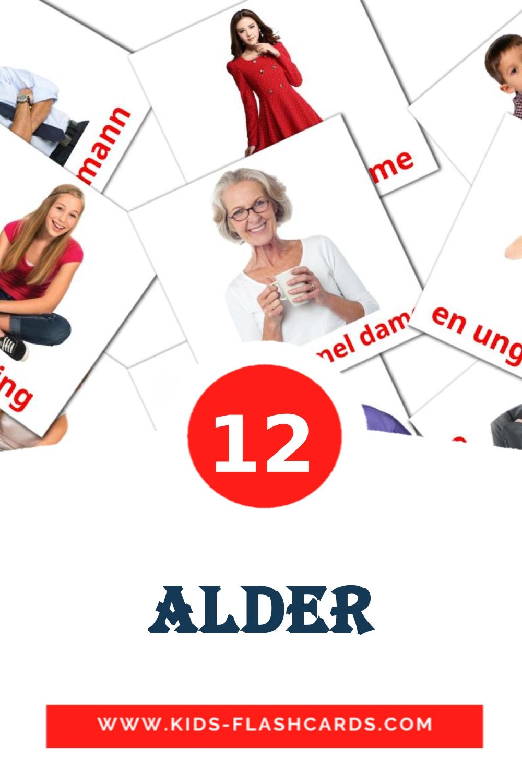 12 alder Picture Cards for Kindergarden in norwegian