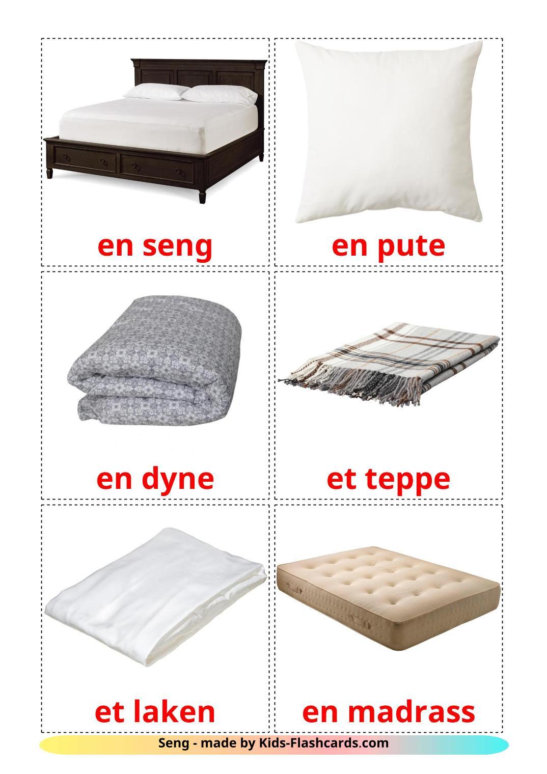 Bed - 15 Free Printable norwegian Flashcards