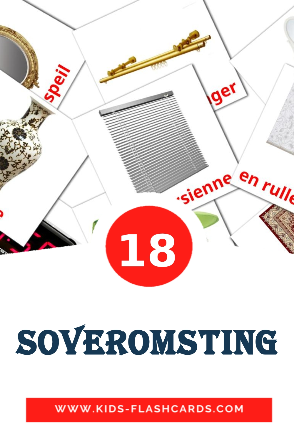 18 Soveromsting Picture Cards for Kindergarden in norwegian
