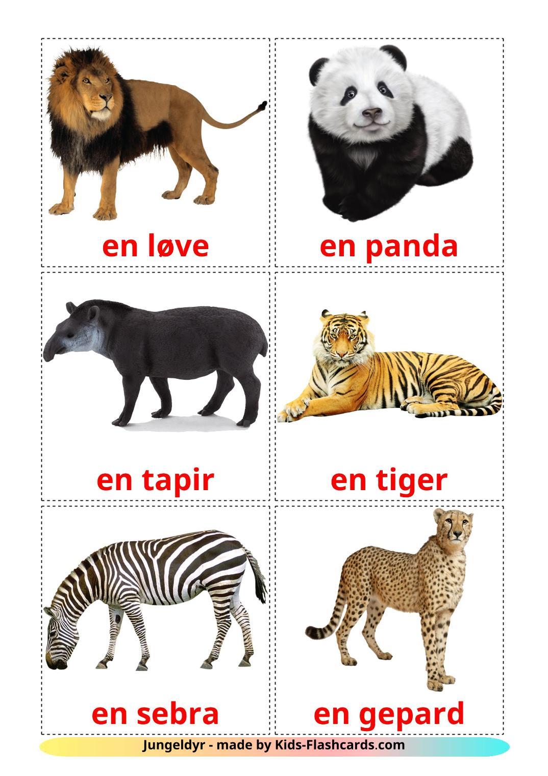 Jungle animals - 21 Free Printable norwegian Flashcards