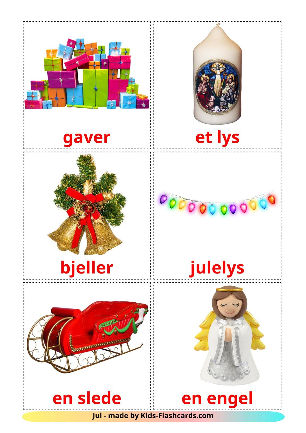 Christmas - 28 Free Printable norwegian Flashcards