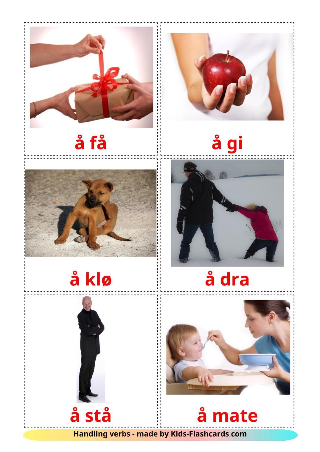 Action verbs - 55 Free Printable norwegian Flashcards
