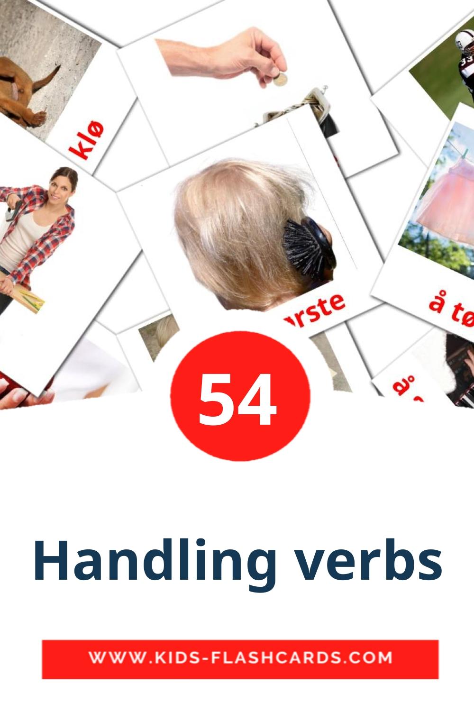 55 Handling verbs Picture Cards for Kindergarden in norwegian