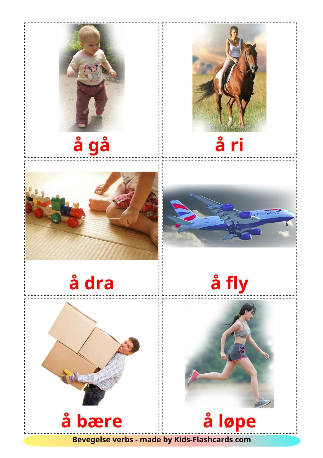 Movement verbs - 22 Free Printable norwegian Flashcards