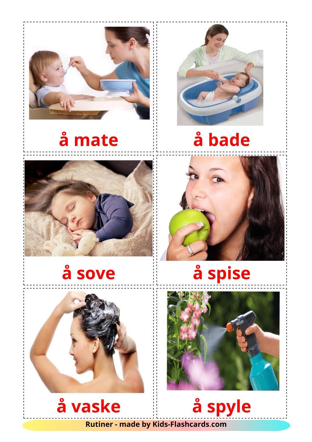 Routine verbs - 33 Free Printable norwegian Flashcards