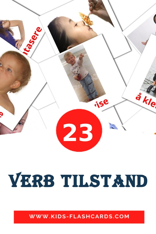 23 Verb tilstand Picture Cards for Kindergarden in norwegian