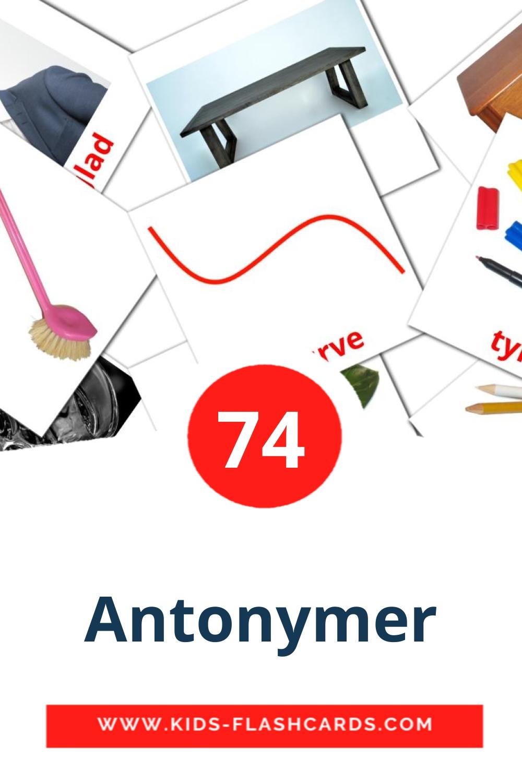 74 Antonymer Picture Cards for Kindergarden in norwegian