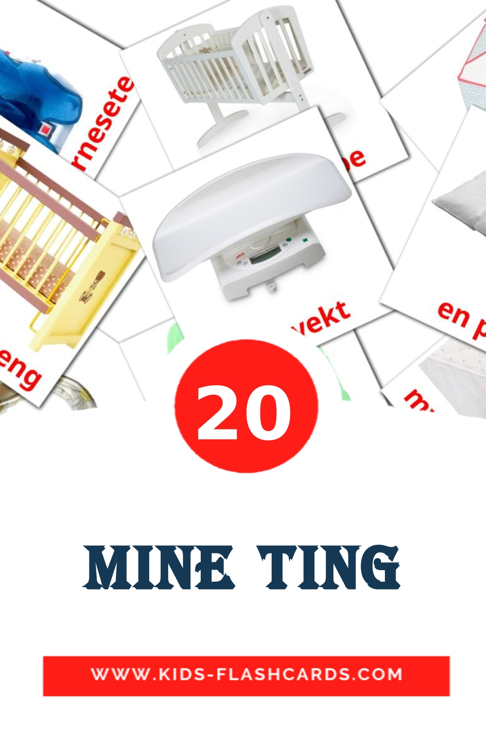 20 Mine ting Picture Cards for Kindergarden in norwegian