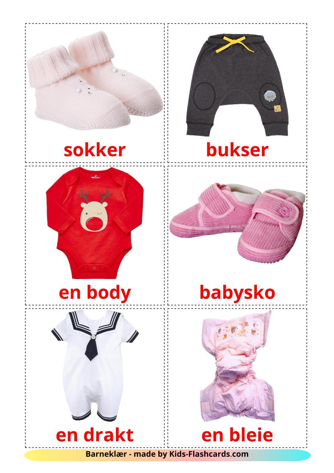 Baby clothes - 12 Free Printable norwegian Flashcards