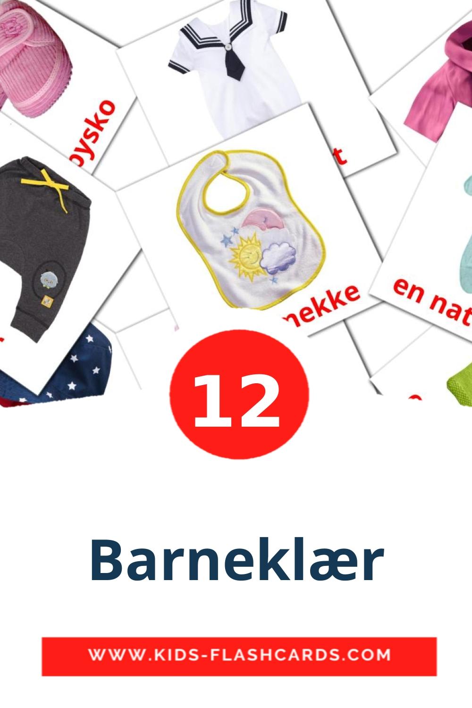 12 Barneklær Picture Cards for Kindergarden in norwegian
