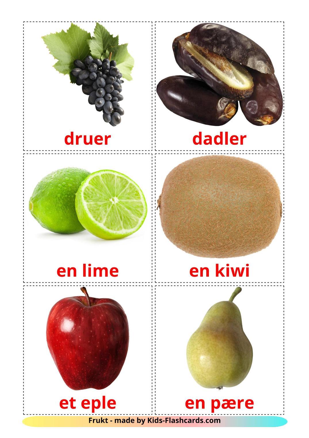 Fruits - 20 Free Printable norwegian Flashcards