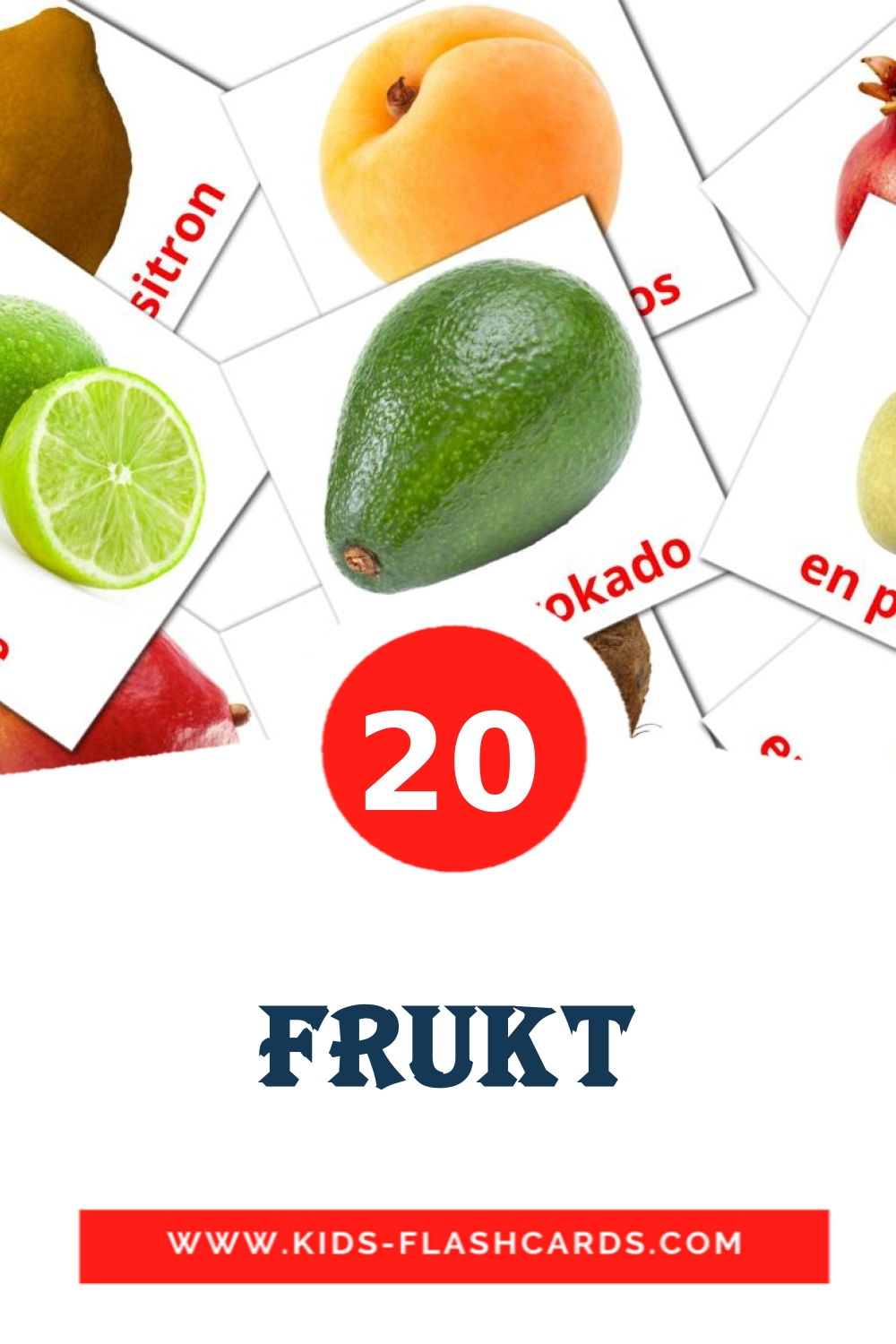 20 Frukt Picture Cards for Kindergarden in norwegian
