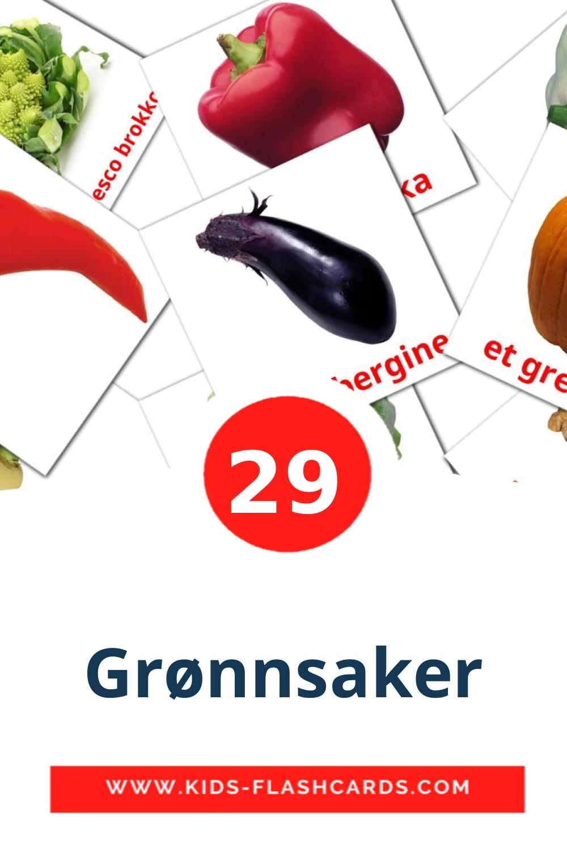 29 Grønnsaker Picture Cards for Kindergarden in norwegian