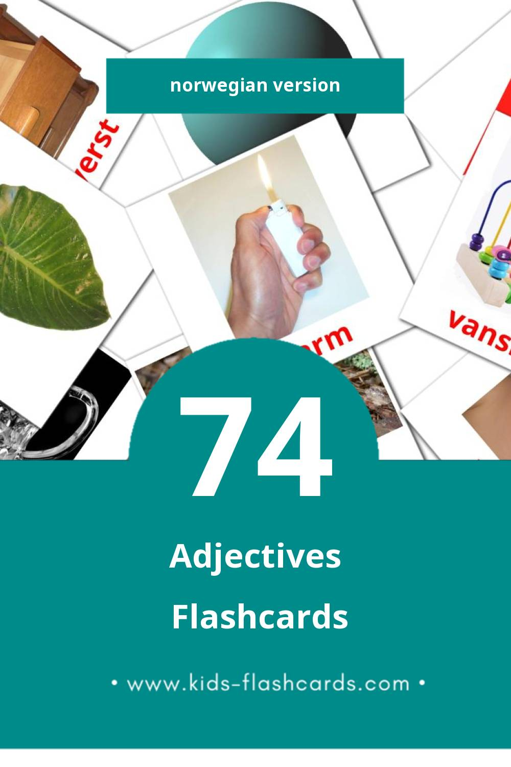 Visual adjektiv Flashcards for Toddlers (74 cards in Norwegian)