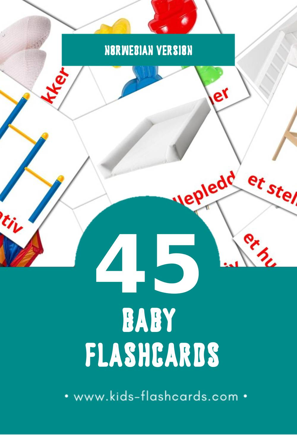 Visual baby Flashcards for Toddlers (45 cards in Norwegian)