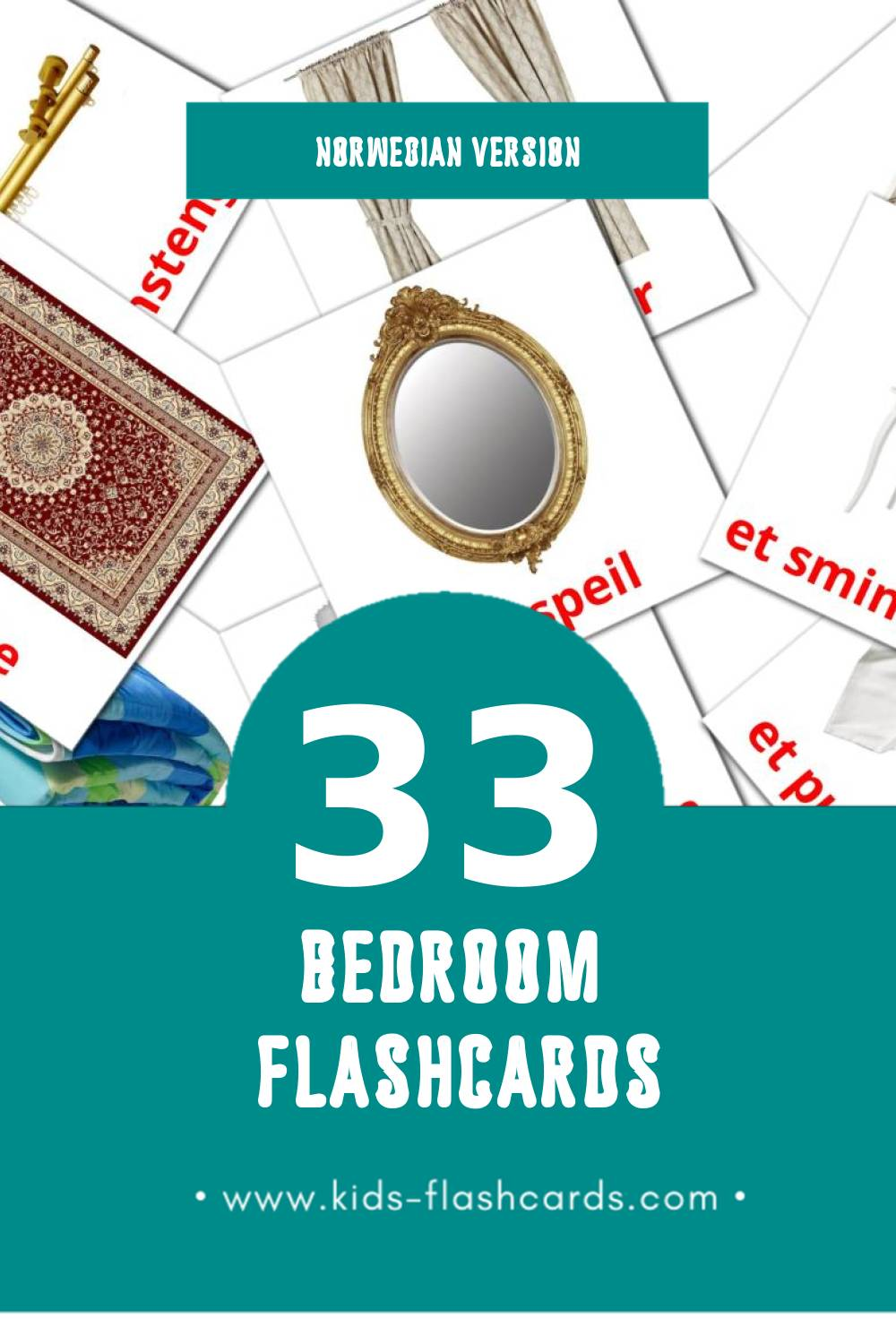 Visual soverom Flashcards for Toddlers (33 cards in Norwegian)