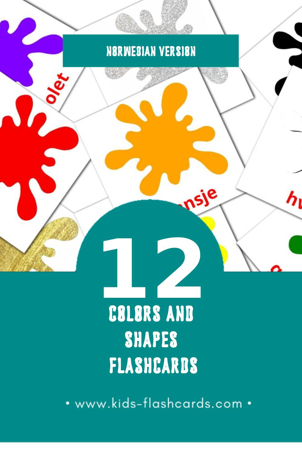 Visual norsk Flashcards for Toddlers (12 cards in Norwegian)
