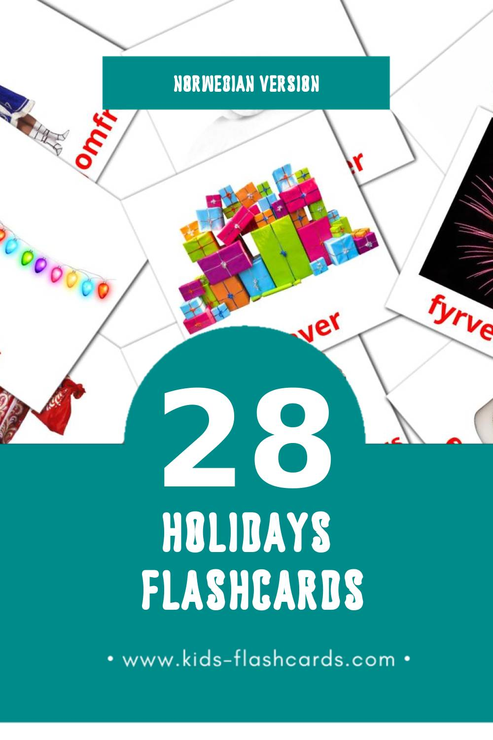 Visual høytid Flashcards for Toddlers (28 cards in Norwegian)