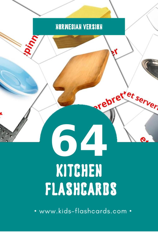 Visual kjøkken Flashcards for Toddlers (64 cards in Norwegian)