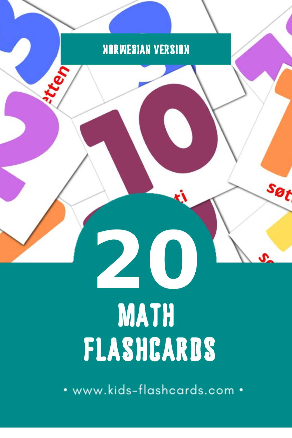 Visual matte Flashcards for Toddlers (20 cards in Norwegian)