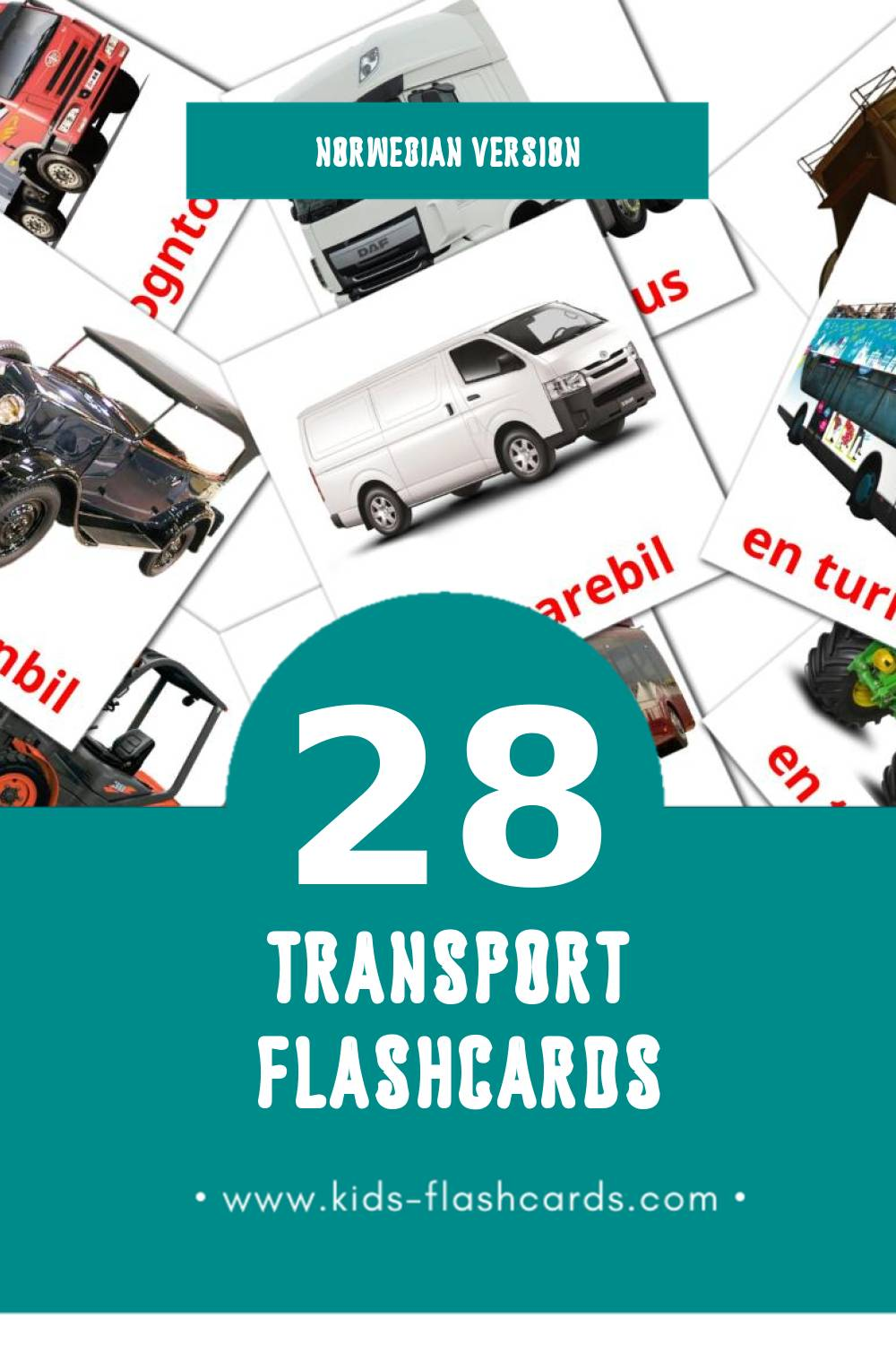 Visual transport Flashcards for Toddlers (28 cards in Norwegian)