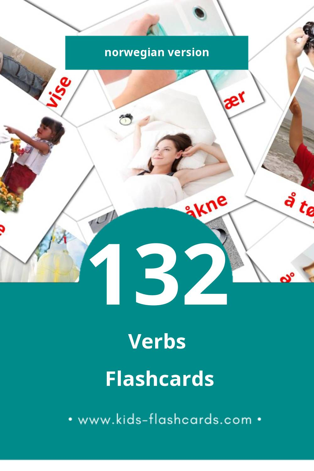 Visual verb Flashcards for Toddlers (133 cards in Norwegian)