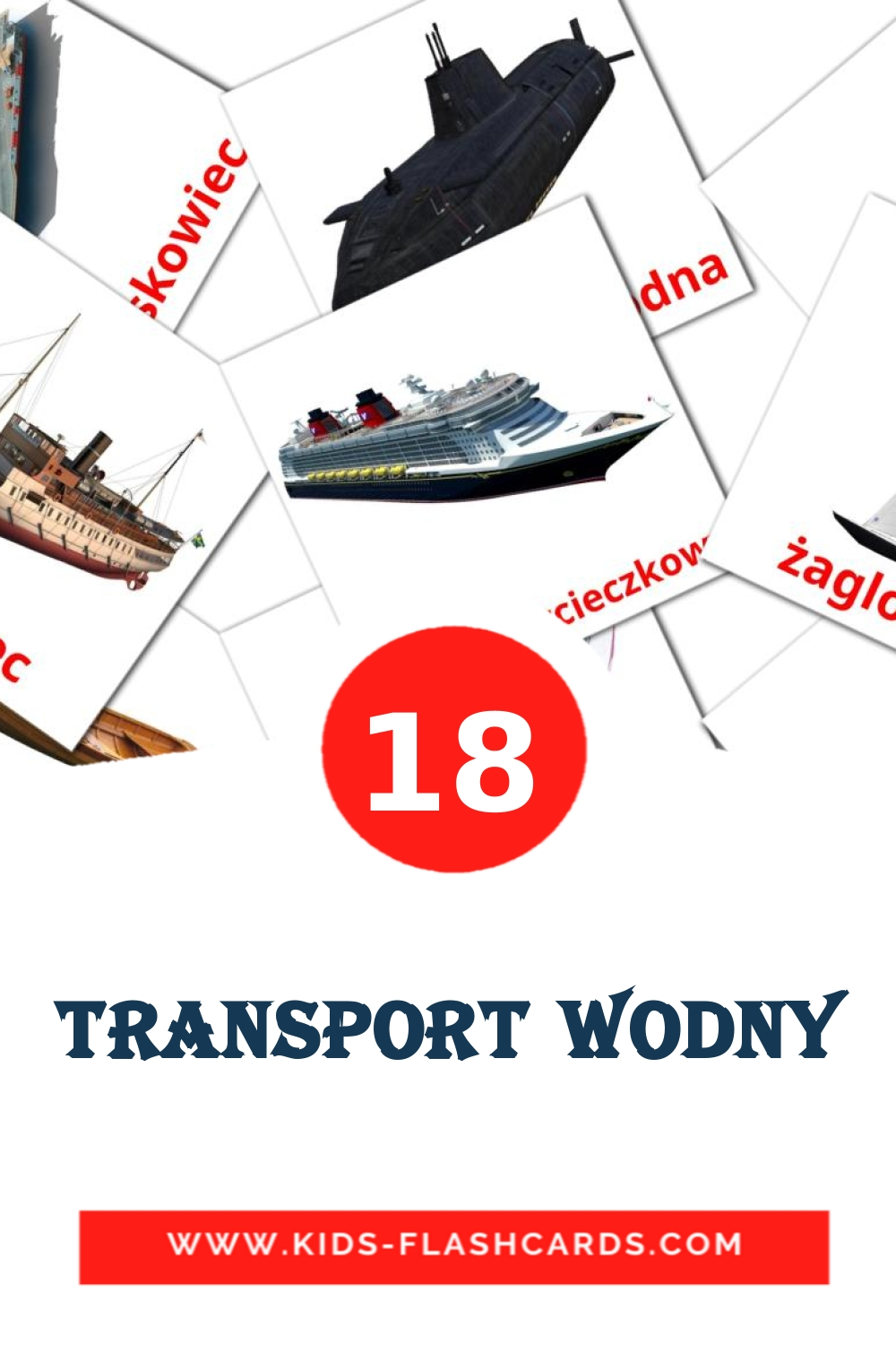 18 Transport wodny Picture Cards for Kindergarden in polish