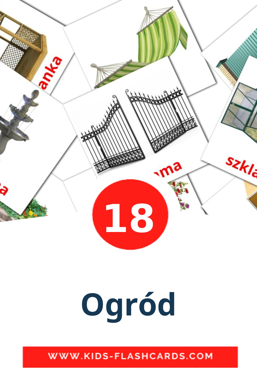 18 Ogród Picture Cards for Kindergarden in polish
