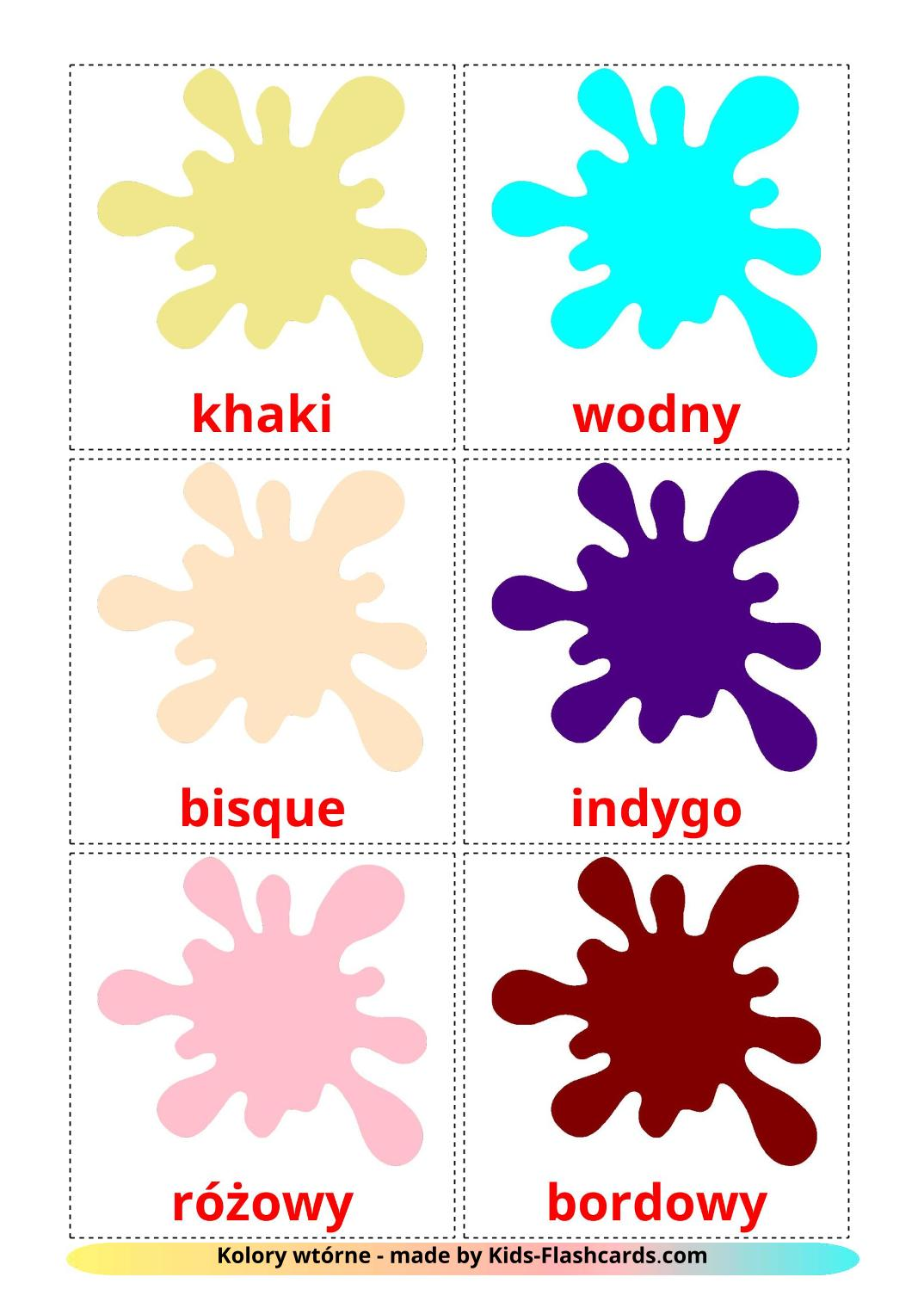 Secondary colors - 20 Free Printable polish Flashcards