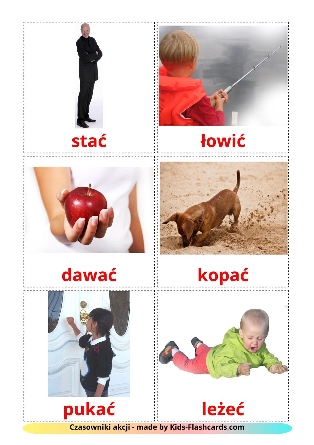 Action verbs - 55 Free Printable polish Flashcards