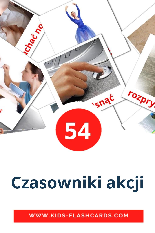 55 Czasowniki akcji Picture Cards for Kindergarden in polish