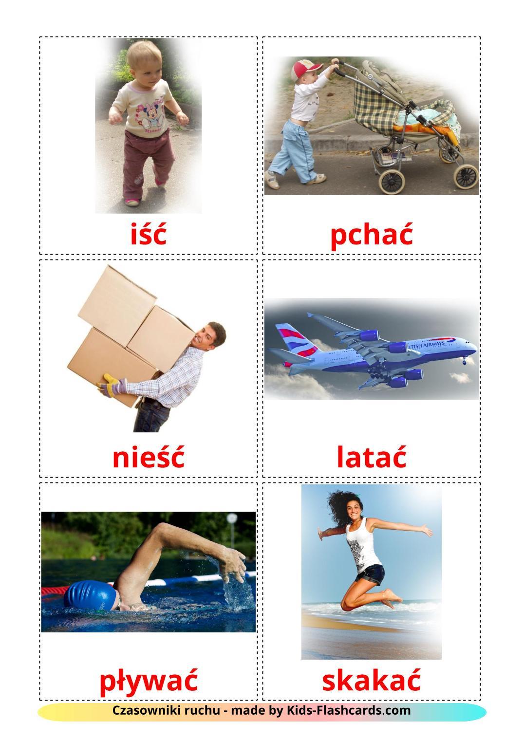 Movement verbs - 22 Free Printable polish Flashcards