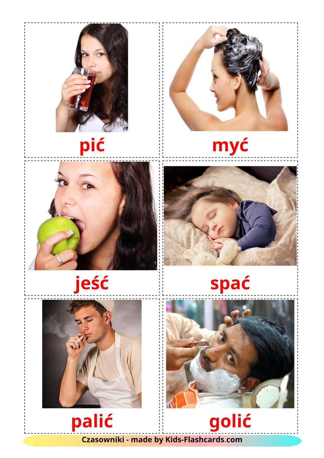 Routine verbs picture cards for Kindergarden in polish