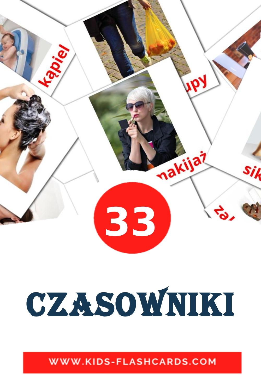 33 Czasowniki Picture Cards for Kindergarden in polish