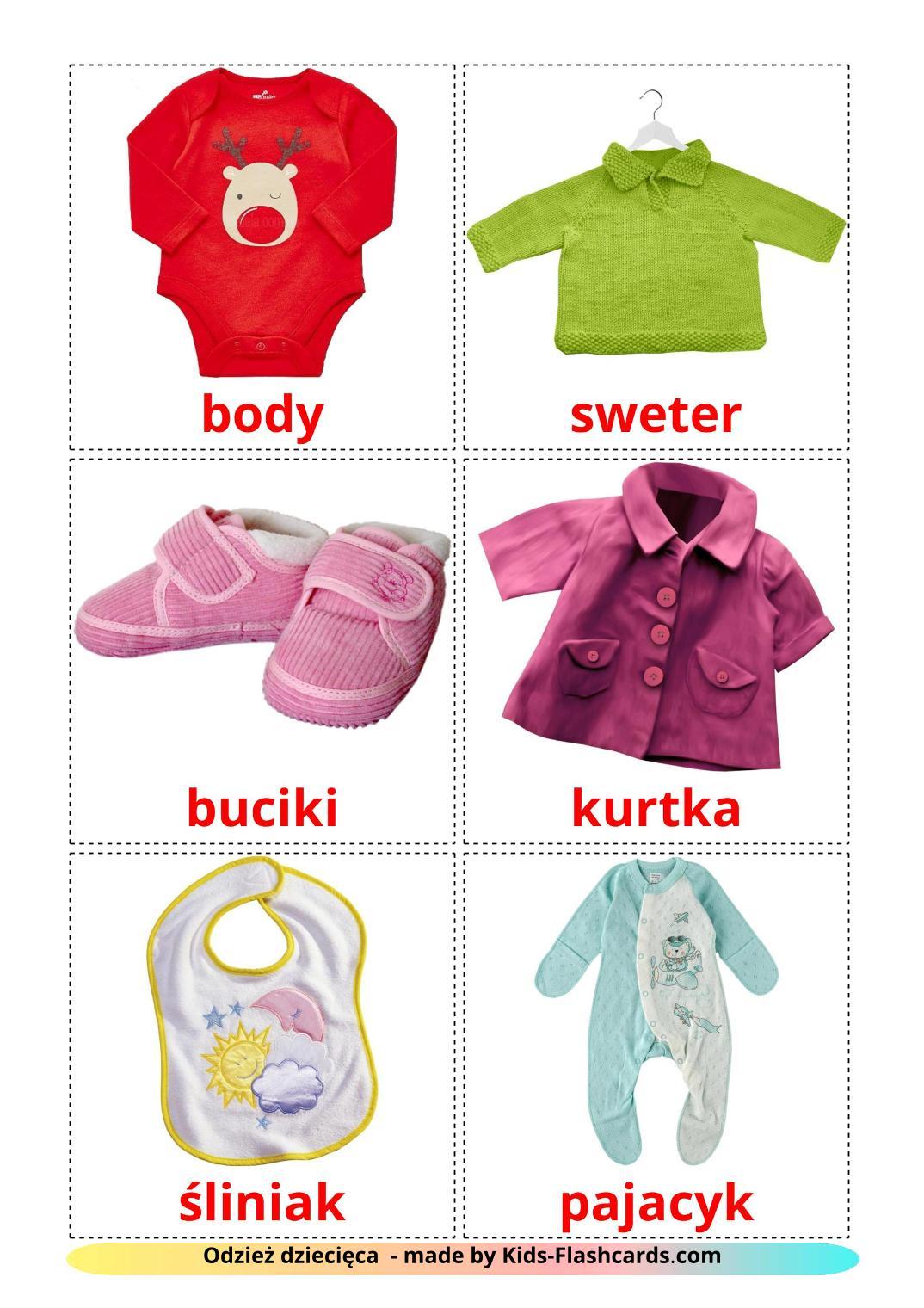Baby clothes - 12 Free Printable polish Flashcards