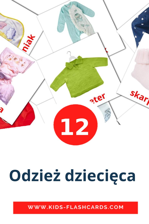 12 Odzież dziecięca  Picture Cards for Kindergarden in polish
