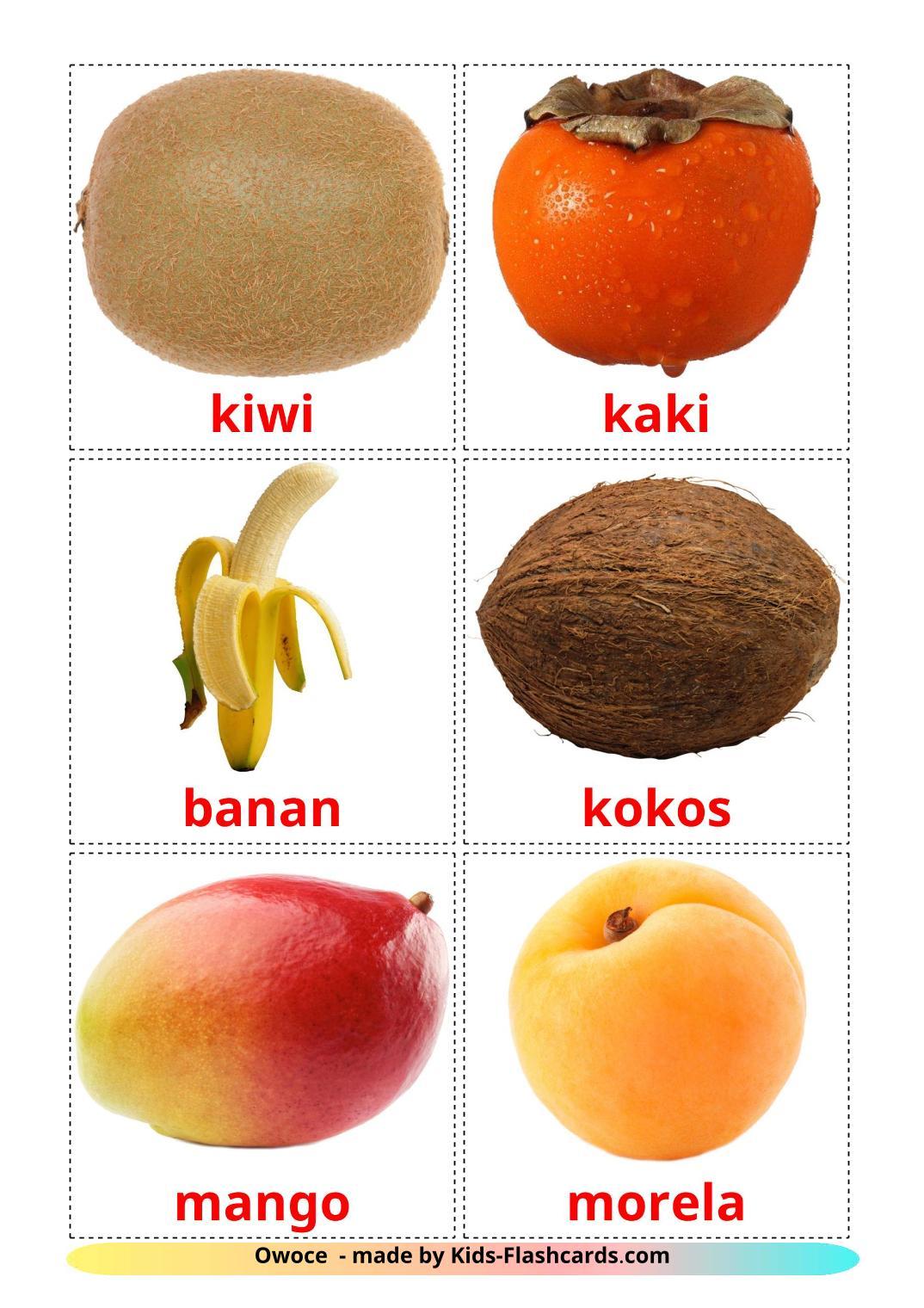 Fruits - 20 Free Printable polish Flashcards