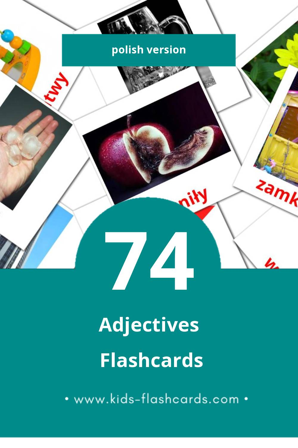 Visual Przymiotniki Flashcards for Toddlers (74 cards in Polish)
