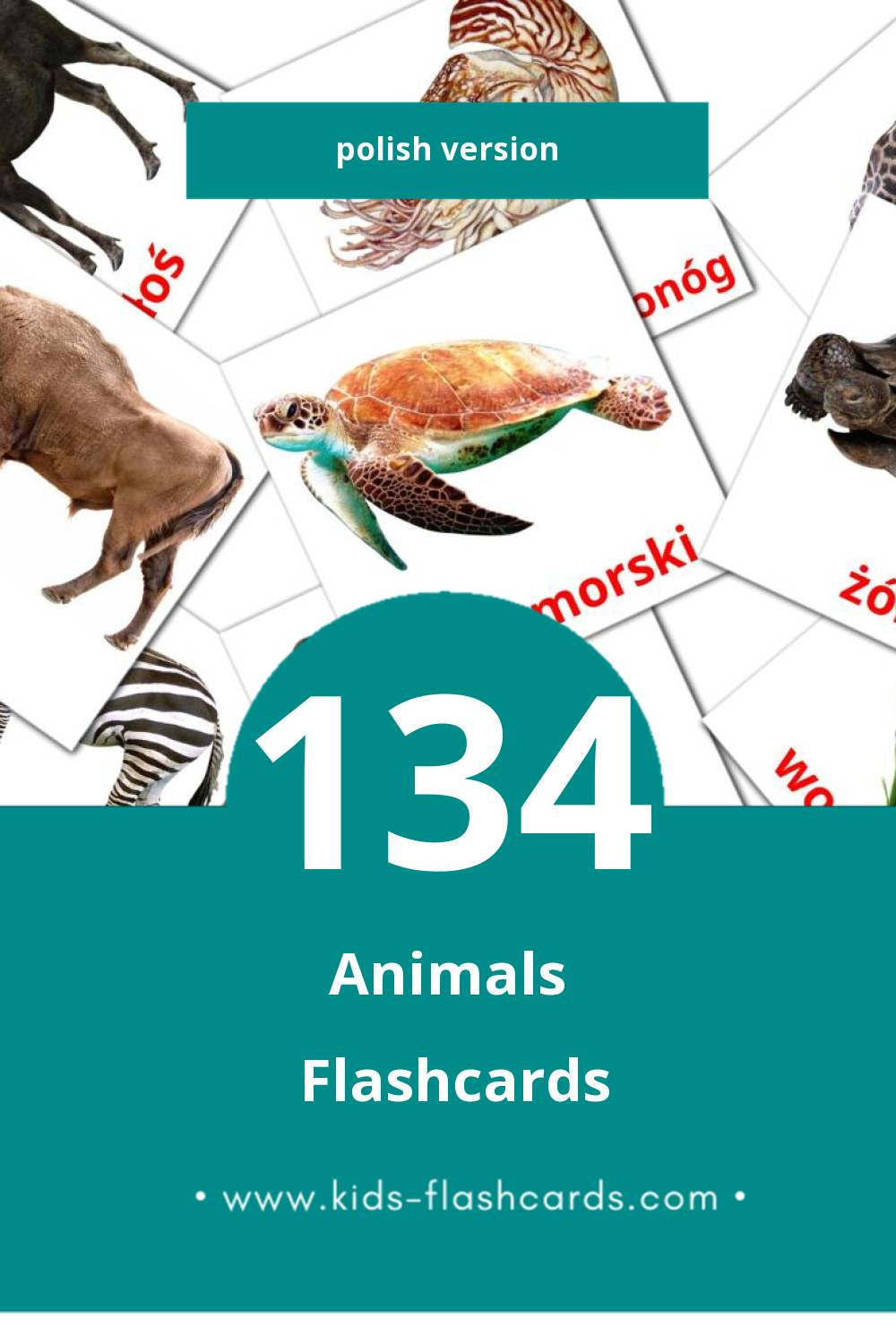 Visual zwierzęta Flashcards for Toddlers (128 cards in Polish)