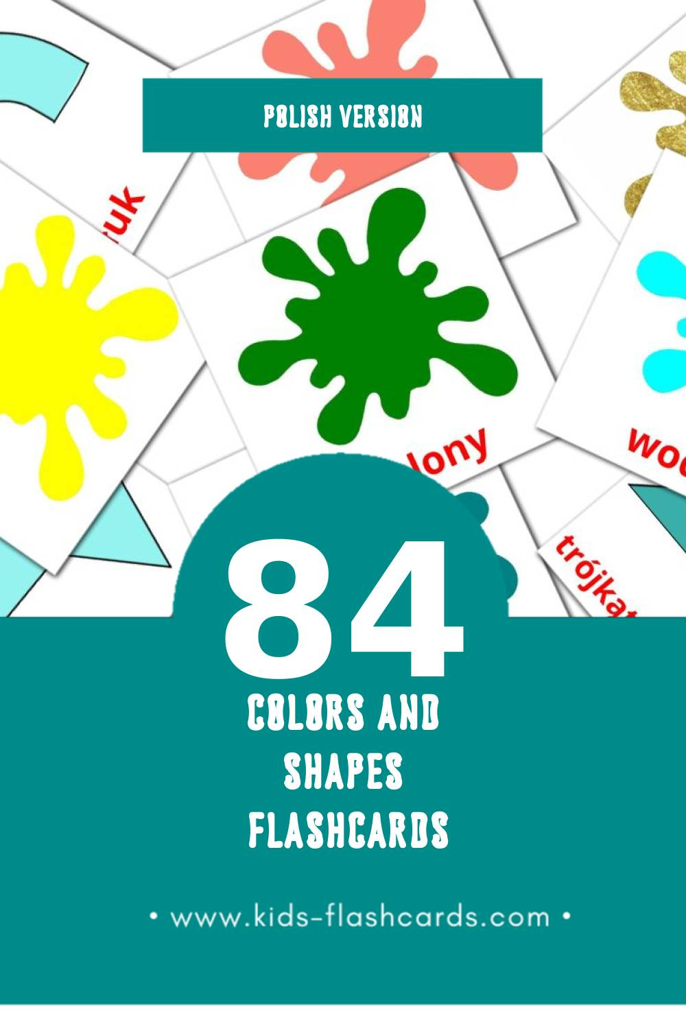 Visual Kolory i kształty Flashcards for Toddlers (84 cards in Polish)