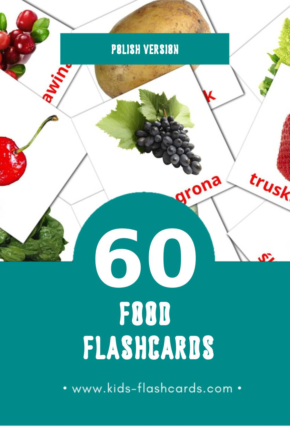 Visual Jedzenie Flashcards for Toddlers (60 cards in Polish)