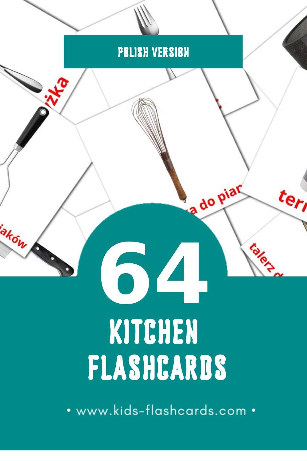 Visual Kuchnia Flashcards for Toddlers (64 cards in Polish)