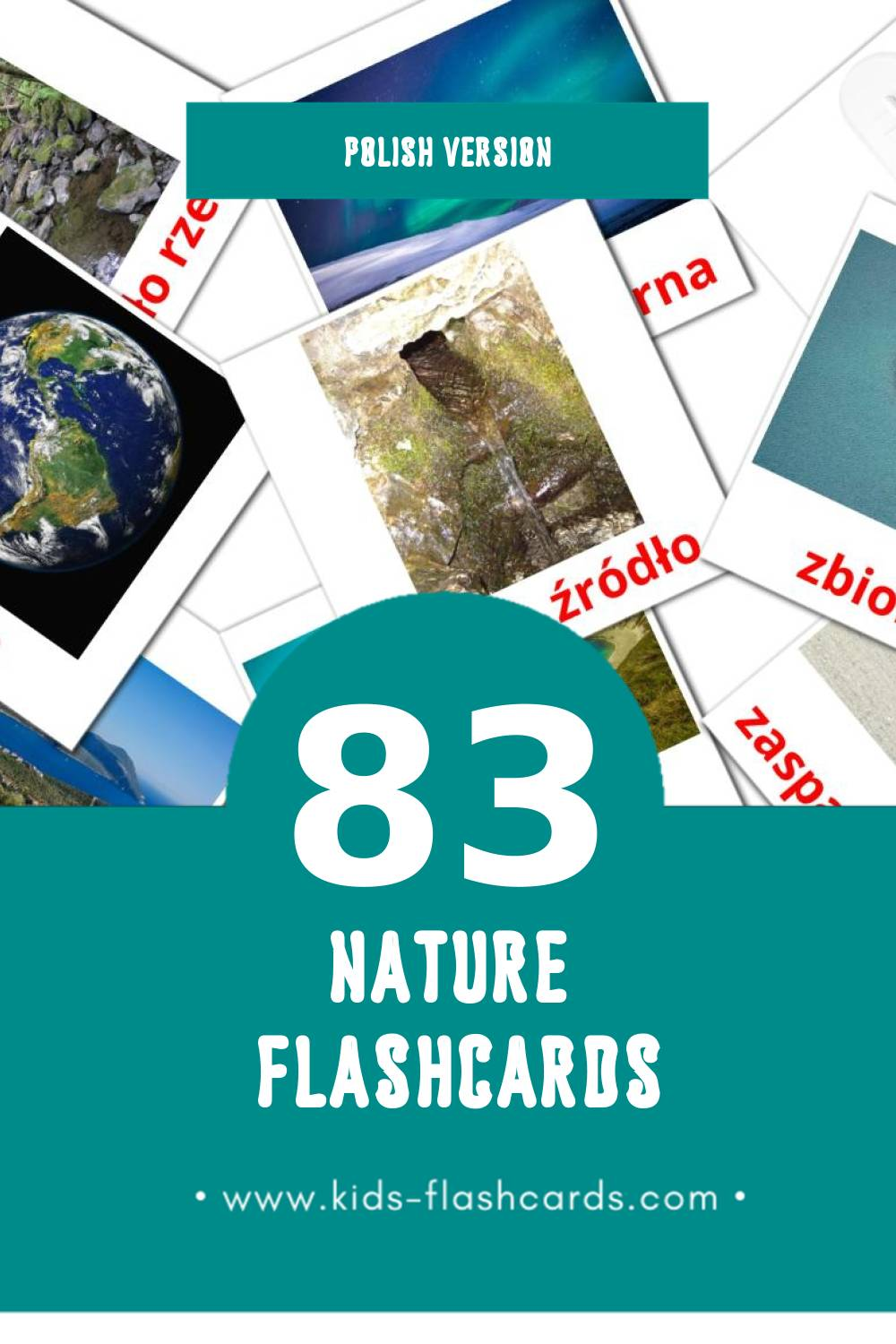 Visual Natura Flashcards for Toddlers (52 cards in Polish)