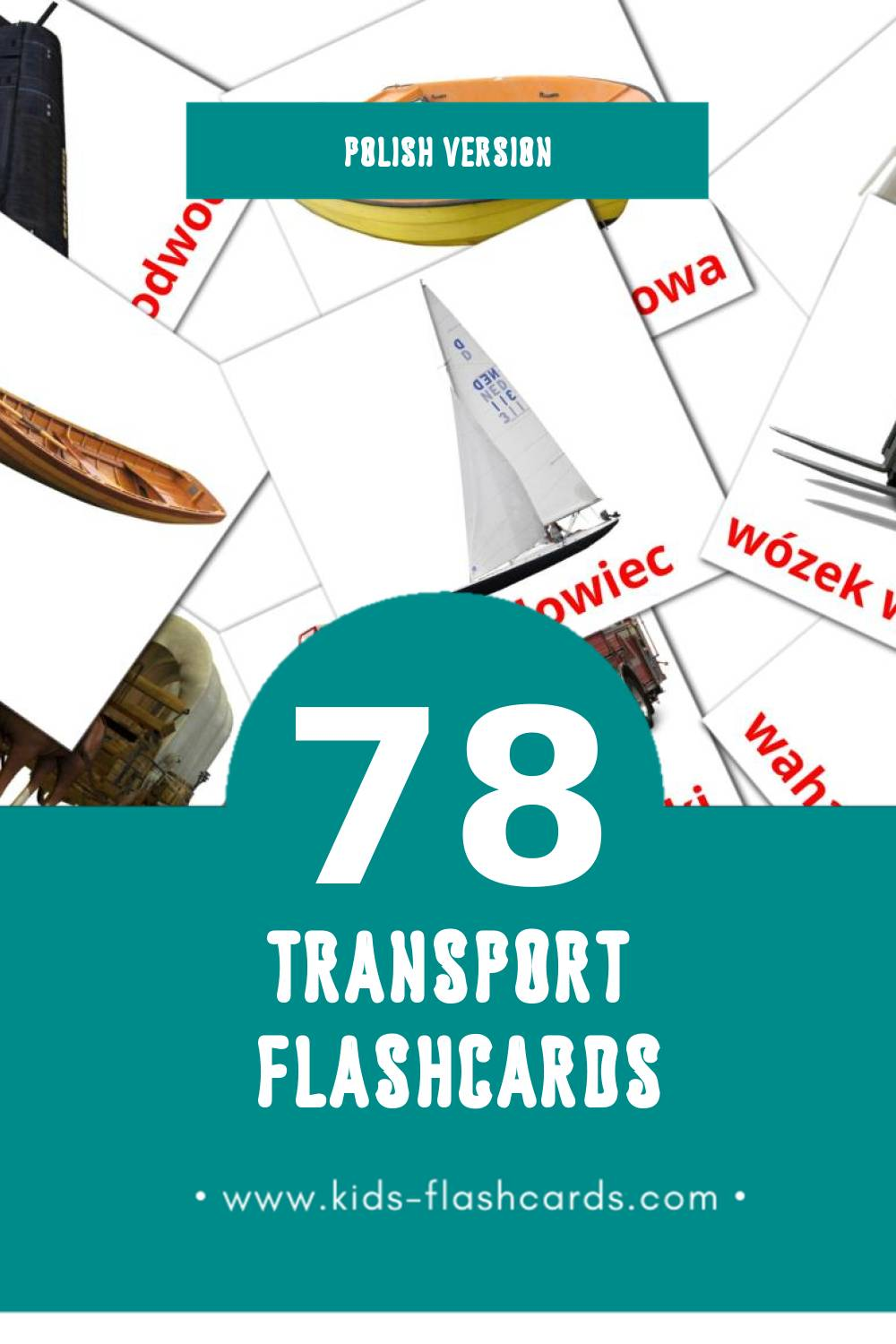 Visual Transport Flashcards for Toddlers (78 cards in Polish)