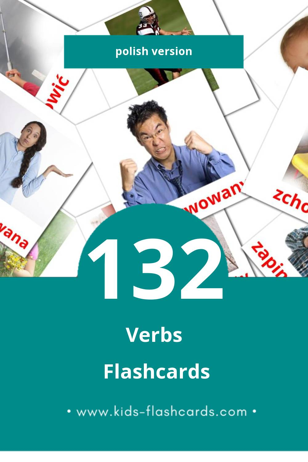 Visual Czasowniki stanu Flashcards for Toddlers (133 cards in Polish)