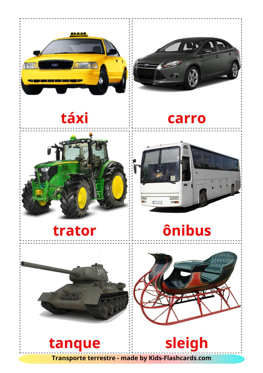 Land transport - 28 Free Printable portuguese Flashcards